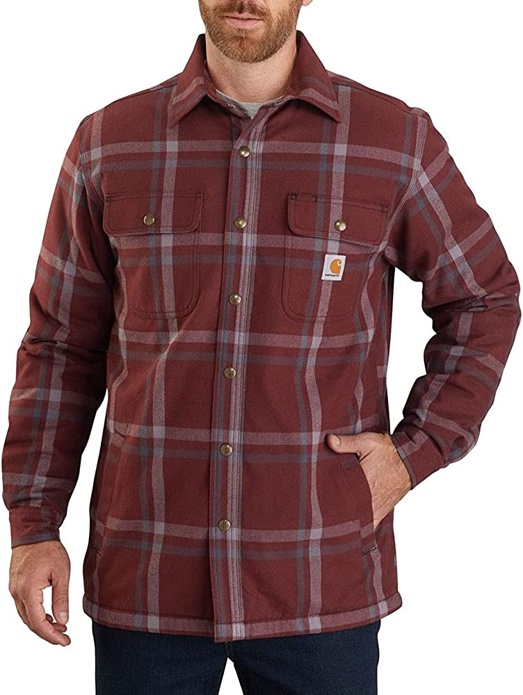 Carhartt Men's Relaxed Fit Flannel Sherpa-Lined Snap-Front Plaid Shirt Jacket