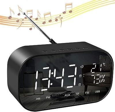 Zhuotop Reloj Despertador Radio Altavoz LED Digital Relojes Mesita de Noche Dual Alarmas con Termómetro,