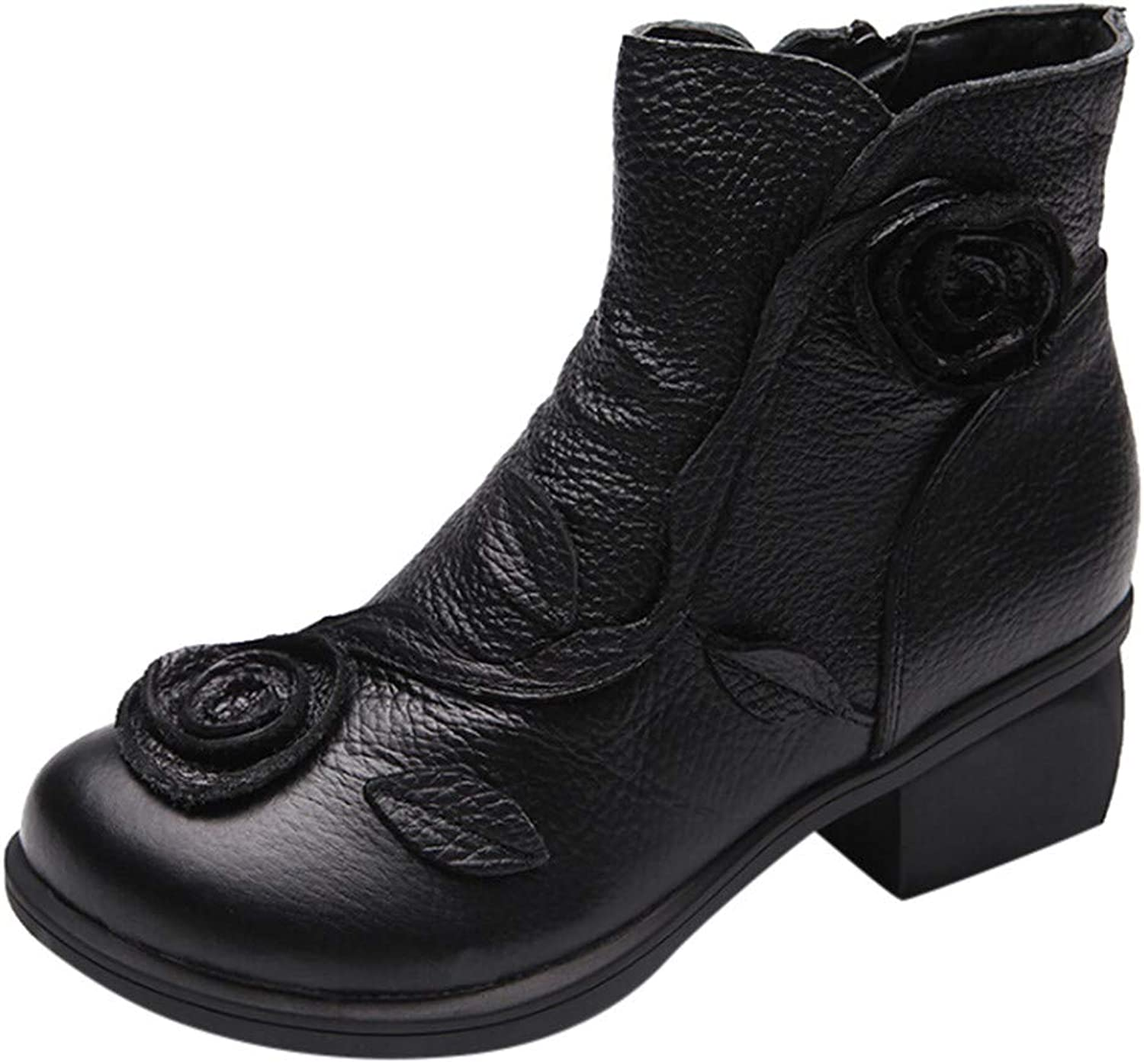 XoiuSyi Women Ethnic Style Martin Boots Lady Casual Hand-Stitched Flowers Leather Retro Boots