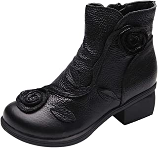Women Ethnic Style Martin Boots Hand-Stitched Flowers Shoes Leather Retro Boots