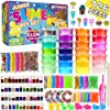 DIY Slime Kit for Girls Boys Aged 5-12 Glow in the Dark Slime Making Kit for Girls' Parties, 18 colors Unicorn Slime Kit for Girls with Beads, Sequins, Hearts and More, Gift Slime Kits for Girls Boys 1