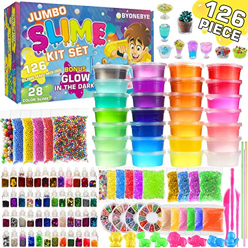 Byonebye 126 Pcs DIY Slime Making Kit for Girls Boys - Birthday Idea for Kids Age 5+. Ultimate Fluffy Slime Supplies Include 28 Crystal Slime, 2 Glow in The Dark Powder, 48 Bottle Glitter Jar etc.