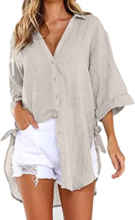 Makulas Tops for Women Plus Size Solid Color Button Front V Neck Long Sleeve Fashion Tunics Casual Pullover Blouse Sweatshirt