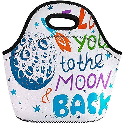 Neopreen lunchtas, Ik hou van je aan de maan en op de rug romantische reis/kantoor-handtas, herbruikbare picknicktas, draagbare draagtas