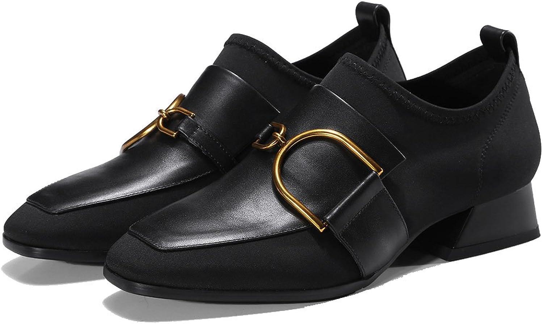 Damenschuhe Low Heel Casual Schuhe Pumps Square Head Metall Schnalle Freizeitschuhe Fashion Loafers Schwarz Arbeit Karriere Schuhe