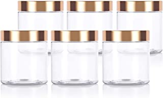 Clear PET Plastic (BPA Free) Refillable Jar with Luxury Gold Metal Overshell Lid - 8 oz / 240 ml (6 Pack)