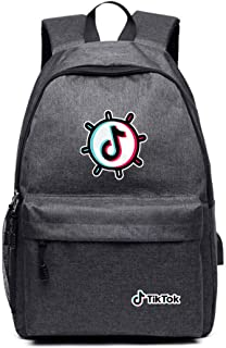 Vibrato Record A Better Life Tiktok Shoulder Bag, USB Charging, Star Backpacks, Schoolbags Female,Gray