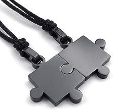 jonline24h Men Women's 2 PCS Stainless Steel Pendant Necklace Jigsaw Puzzle Love Couple Adjustable 22~24 Inch Chain