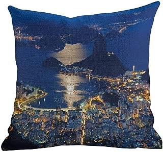 Printed Custom Pillowcase Night,Aerial View of Mountain Sugar Loaf and Botafogo Rio de Janeiro,Violet Blue Marigold Light Grey,Home Decor Sofa Cushion Case 18