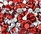 Sunny Island Hershey's Kisses Milk Chocolate Valentine's Day Candy Mix, Red Silver Foil, 1 Pound Bag