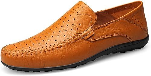 Shuo lan hu wai Les Mocassins Occasionnels Doux de Conception de Mode des Hommes Glissent sur la Conduite Mocassin de Mocassin,Chaussures de Cricket (Couleur   jaune marron Hollow Vamp, Taille   43 EU)