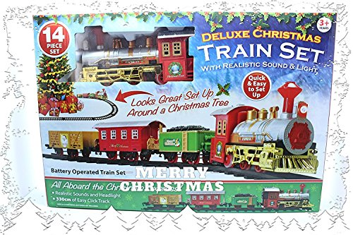 PMS Christmas Express - Set di treni a batteria con suono realistico e luci, misto, taglia unica