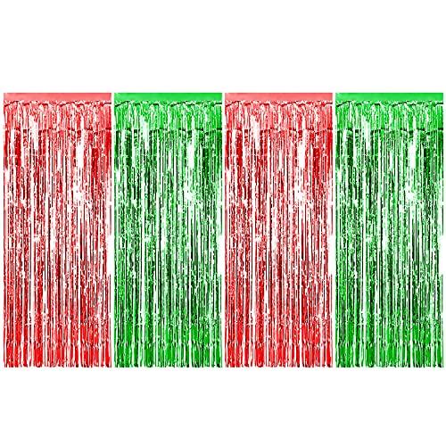4 pezzi Tende a Frange Tende di Natale Tinsel Tende in lamina metallica con frange Foil Streamer Decorazioni per feste 1x2m Tenda metallizzata luccicante Sfondo frangia per il compleanno Rosso Verde
