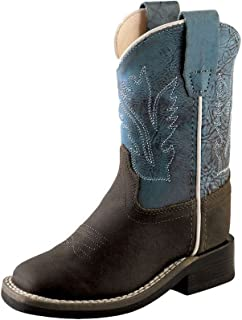 Old West Toddler-Boys' Blue Western Boot Wide Square Toe Brown 8 D