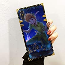 DISNEY COLLECTION Square Case iPhone Xs Max Disney Peter pan Anime Luxury Soft TPU Shockproof Protective Metal Decoration Corner Back Cover Case