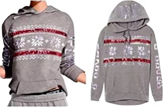 Victoria's Secret PINK Bling Holiday Campus Pullover Hoodie Gray Small NWT