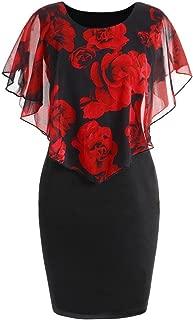 CUCUHAM Fashion Womens Casual Plus Size Rose Print Chiffon O-Neck Ruffles Mini Dress