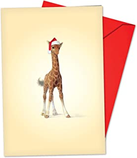 12 Boxed 'Christmas Zoo Babies Giraffe' Holiday Notes with Envelopes 4.63 x 6.75 inch, Cute Baby Giraffe Wearing Santa Hat Christmas Cards, Adorable Baby Animal Seasonal Greeting Cards B6726FXSG