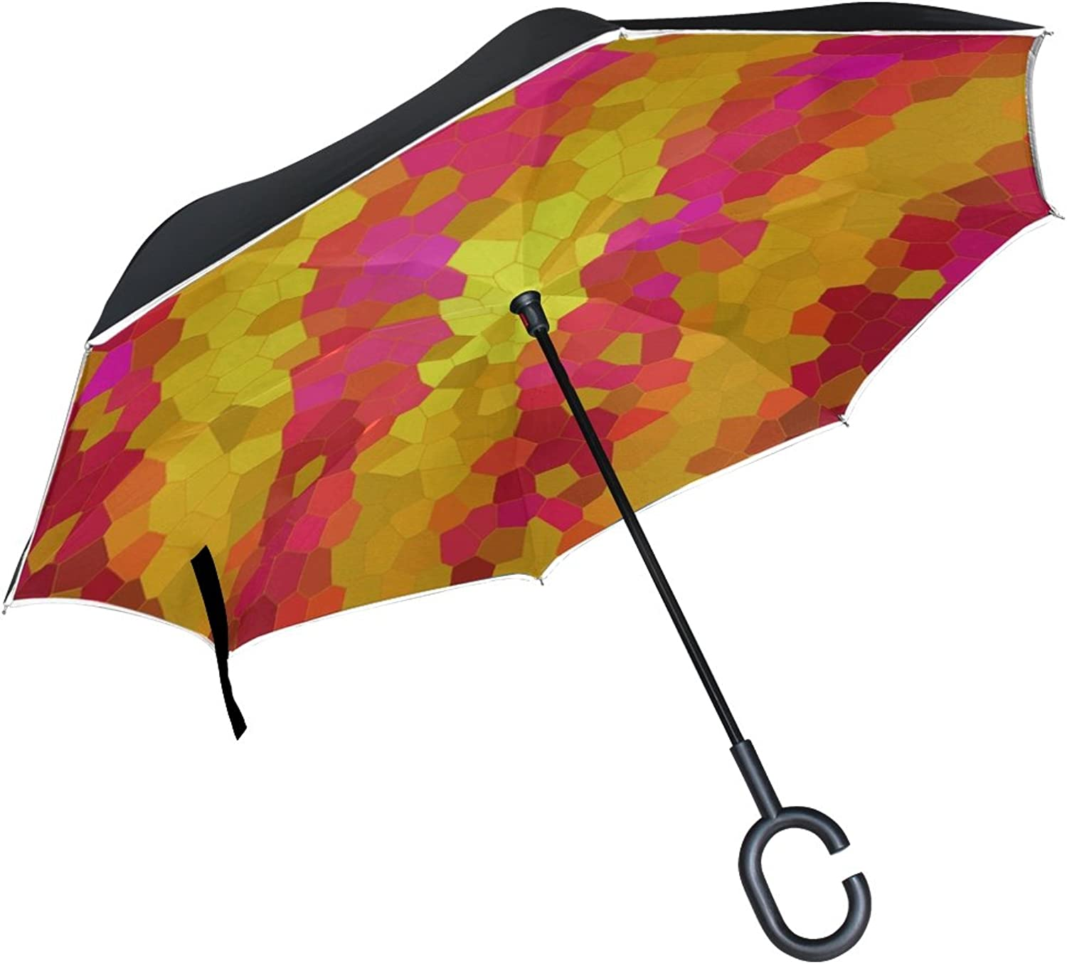 Double Layer Ingreened Abstract Backgroud Pattern colorful Design Texture Umbrellas Reverse Folding Umbrella Windproof Uv Predection Big Straight Umbrella for Car Rain Outdoor with CShaped Handle