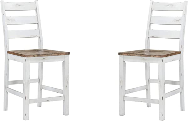 Novo 24 Bar Stool In Alabaster With Contrasting Seat And Ladder Back Set Of Two By Artum Hill