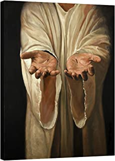 Visual Art Decor Large Christ Religion Painting Wall Decoration Scars On The Hands of Jesus Picture Canvas Prints Gallery Wrapped Home Room Decor Christmas Artwork (28