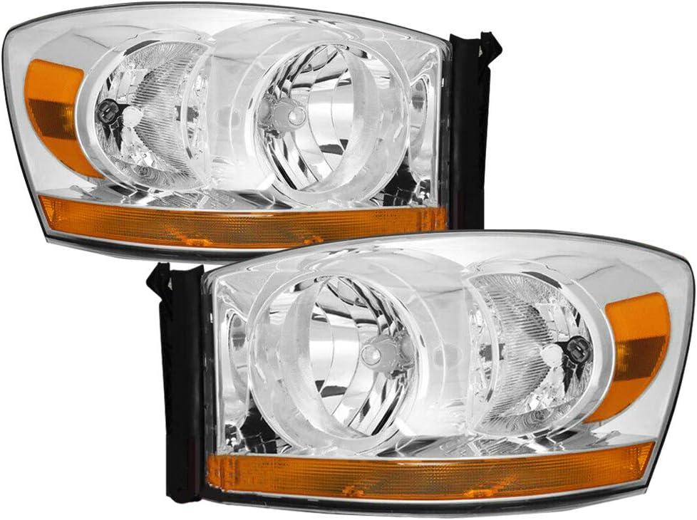 Black Headlight Assembly Set Replacement for 2006-2008 Dodge Ram 1500 /& 2006-2009 Dodge Ram 2500//3500 Pickup Black Headlamp Driver and Passenger Side Front Lights Pair
