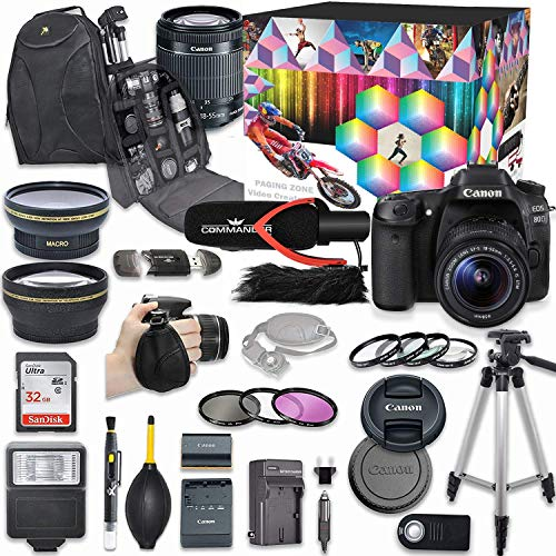 Canon EOS 80D DSLR Camera Deluxe Video Creator Kit with Canon EF-S 18-55mm f/3.5-5.6 is STM Lens + Commander Video Microphone + SanDisk 32GB SD Memory Card + Accessory Bundle