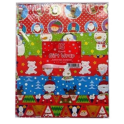 Seasonal Greetings Tallon - 15 Sheets Christmas Gift WRAP - Assorted Designs - Approx 3.75 SQ METRES - 1486
