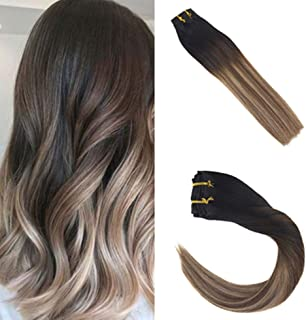 Sunny Clip in Hair Extensions 24 inch Balayage Hair Extensions Clip in Human Hair #1B Ombre to Brown and Ash Blonde Clip in Hair Extensions Black 7pcs 120g