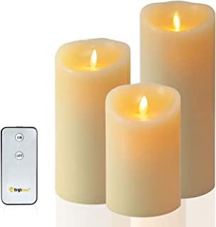 Flameless Candle Dancing Wick Pillar LED Candle with Remote & Timer, 3.5-inch by 5-inch Ivory (579 inch) Brand Name: Brigh...