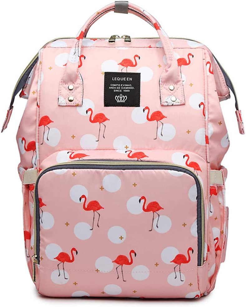 Flamingo Multi-Function Diaper Bag for Baby Care Travel Backpack Wide Open Nappy Bags Handbags Large Capacity Pink,SIZE(LWH):12.207.0915.35in