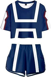 My Hero Academia 3D Printed Pajama Set Anime Boku no Hero Tracksuits Manga Summer Bakugou Todoroki Shoto Hero Crop T-Shirt...