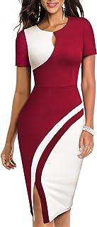 HOMEYEE Vestido de Negocios elástico de Color Vintage con Contraste y Hueco para Mujer B571