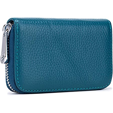 Meowoo Credit Card Holder RFID Blocking Genuine Leather Mini Credit Card Wallet Purse with Zipper for Women Men (Blue)