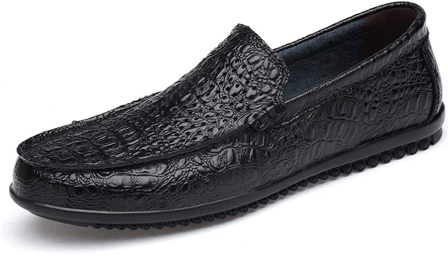 Easy Go Shopping Driving Loafer Men's Boat Moccasins Slip On OX Leather Crocodile Skin Print Round Toe shoes Cricket shoes (color   Balck hollow, Size   6.5 UK)