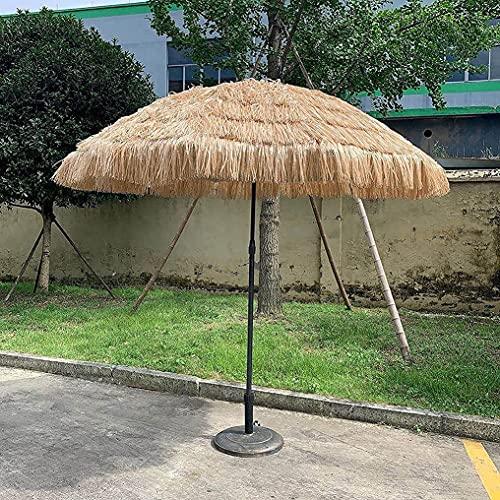 MXBC Ombrello Tiki da Spiaggia in Paglia,Ombrellone Impermeabile da Patio Hawaiano Portatile da 1,8 m, Ombrellone in Paglia con Protezione UV con Frange Design Inclinabile per Tiki Bar All aperto