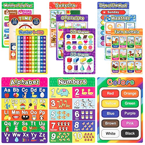 Nicpro 12 Pack Preschool Educational Wall Posters for Kid and Toddler, Classroom Decoration Learning Materials Curriculum ABC Chart- Teach Numbers Alphabet Colors Shape Days and More for Nursery Homeschool Kindergarten 16 x 11 Inch