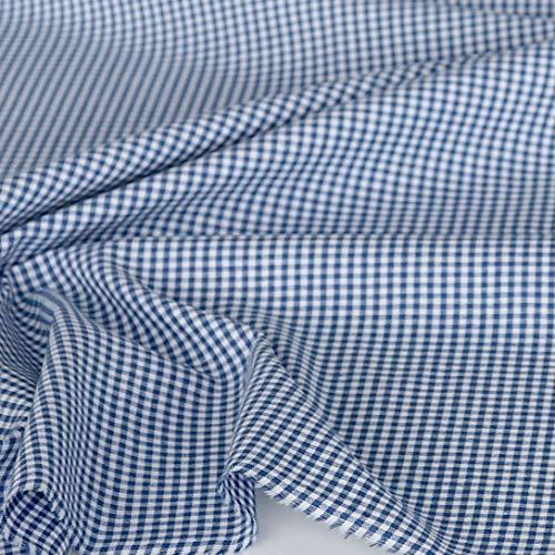 TOLKO 50cm Baumwollstoff kariert | der Vichy-Karo Klassiker zum Nähen/Dekorieren aus Baumwolle als Kleiderstoff Dekostoff Bezugsstoff | in 5 Farben | 160cm breit - Meterware (2 x 2 mm, Blau)