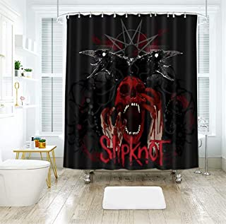Red Blood Slipknot Skull Crow Shower Curtain with Hook, Polyester Bathroom Shower Screen Set -72 W X 84 L Inches