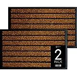 Door Mat - 2 Pack Door Mats Outdoor - 18x30 Doormat - Front Door Mats Outdoor - Fall Door Mat - Outdoor Mat - Welcome Mat - Brown Door Mat