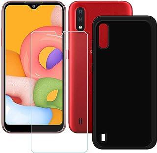 TTJ Svart skal till Samsung Galaxy M01S + HD pansarglas, mobiltelefonskal silikon skyddsskal skydd TPU Case mobilväska – p...