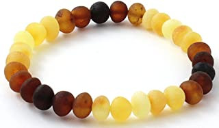 BoutiqueAmber Raw Baltic Amber Bracelet - Suitable for Adults (Men and Women) - Size 7 inches (18 cm) - Made on Elastic Band - Unpolished Amber Beads (7 inches, Modern Rainbow)