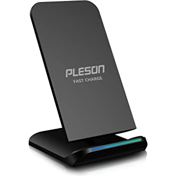 PLESON Fast Wireless Charger, Qi Certified 10W Fast Wireless Charging Pad Stand for Samsung Galaxy S9/S9+ Note 9/8 S8/S8+ S7 Edge, Standard Charge for iPhone XS MAX/XR/XS/X/8/8 Plus-No AC Adapter