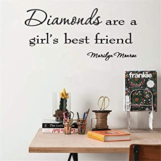 Vinyl Wall Art Inspirational Quotes and Saying Home Decor Decal Sticker Diamonds are A Girl's Best Friend Marilyn Monroe Saying