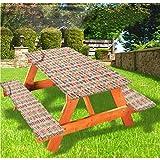 LEWIS FRANKLIN - Cortina de ducha para niños, diseño de picnic de lujo, para niños pequeños, mantel de borde elástico, 28 x 72 pulgadas, juego de 3 piezas para mesa plegable