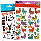 Llamas Party Favors Sticker Set -- 18 Sheets of Llama and Other Hipster Animal Stickers (Llama Stickers, Party Supplies)