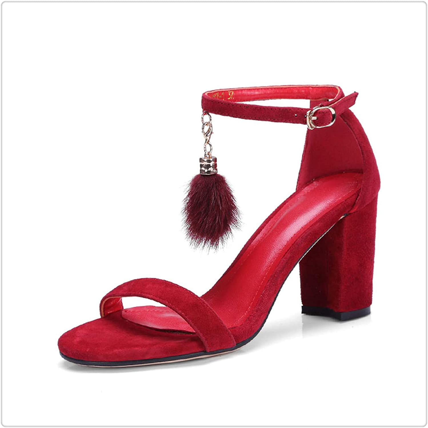 NNHLPO& Summer High Heels Sandals Square Heels Kid Suede Metal Decoration Open Toe Fur