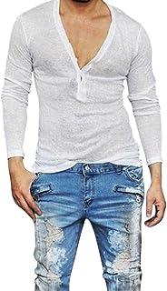 UJUNAOR Men's Casual Slim Fit Deep V Neck Summer Long Sleeve T-Shirt Basic Shirt