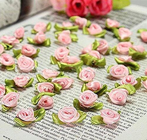 100 PCS Mini Ribbon Bows Roses Flowers Craft Artificial Ornament Applique Sewing DIY (Purple)