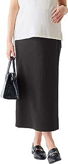 ANGELIEBE エンジェリーベ マタニティ 産前 産後 対応 リブ ラップ マキシ スカート 妊婦服 ウエスト調節可 M~L ブラック 29688402